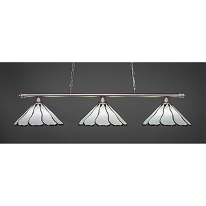 Oxford Brushed Nickel 16-Inch Three-Light Island Pendant with Pearl Flair Tiffany Glass