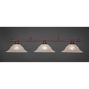 Oxford Bronze 16-Inch Three-Light Island Pendant with Amber Marble Glass