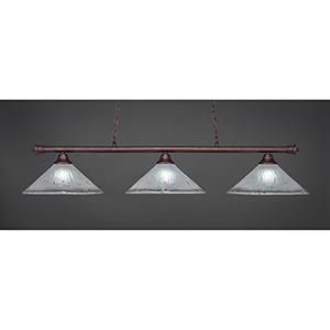 Oxford Bronze 16-Inch Three-Light Island Pendant with Frosted Crystal Glass