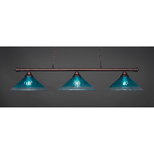 Oxford Bronze 16-Inch Three-Light Island Pendant with Teal Crystal Glass
