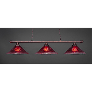 Oxford Bronze 16-Inch Three-Light Island Pendant with Raspberry Crystal Glass
