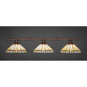 Oxford Bronze 15-Inch Three-Light Island Pendant with Honey and Brown Mission Glass