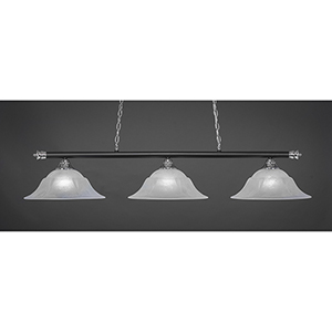 Oxford Chrome and Matte Black 16-Inch Three-Light Island Pendant with White Marble Glass