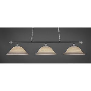 Oxford Chrome and Matte Black 16-Inch Three-Light Island Pendant with Gray Linen Glass