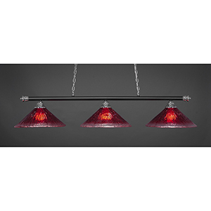 Oxford Chrome and Matte Black 16-Inch Three-Light Island Pendant with Raspberry Crystal Glass