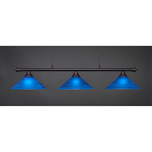 Oxford Dark Granite 16-Inch Three-Light Island Pendant with Blue Italian Glass