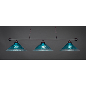 Oxford Dark Granite 16-Inch Three-Light Island Pendant with Teal Crystal Glass