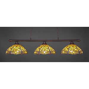 Oxford Dark Granite 16-Inch Three-Light Island Pendant with Amber Dragonfly Tiffany Glass