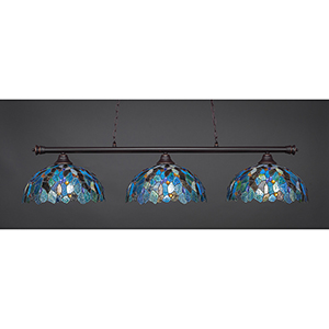 Oxford Dark Granite 16-Inch Three-Light Island Pendant with Blue Mosaic Tiffany Glass