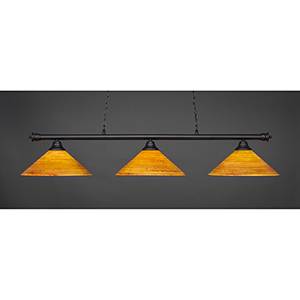 Oxford Matte Black 16-Inch Three-Light Island Pendant with Firré Saturn Glass