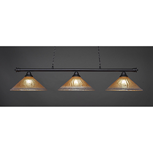 Oxford Matte Black 16-Inch Three-Light Island Pendant with Amber Crystal Glass
