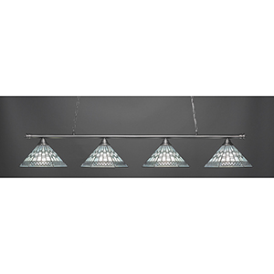 Oxford Brushed Nickel 16-Inch Four-Light Island Pendant with Pewter Tiffany Glass