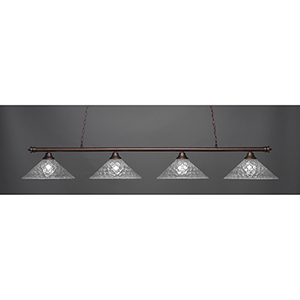 Oxford Bronze 16-Inch Four-Light Island Pendant with Italian Bubble Glass