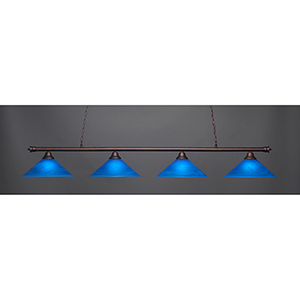 Oxford Bronze 16-Inch Four-Light Island Pendant with Blue Italian Glass
