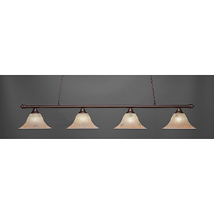Oxford Bronze 14-Inch Four-Light Island Pendant with Italian Marble Glass