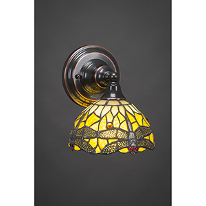 Any Black Copper Seven-Inch One-Light Wall Sconce with Amber Dragonfly Mini Tiffany
