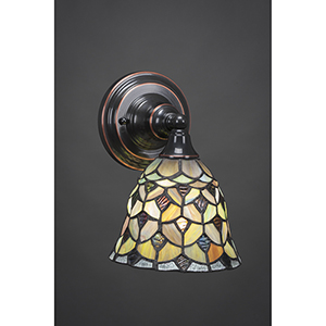 Any Black Copper Seven-Inch One-Light Wall Sconce with Crescent Tiffany Glass
