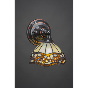 Any Black Copper Seven-Inch One-Light Wall Sconce with Roman Jewel Mini Tiffany
