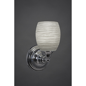 Any Chrome Five-Inch One-Light Wall Sconce with Gray Linen