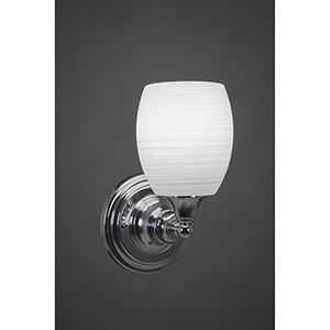 Any Chrome Five-Inch One-Light Wall Sconce with White Linen