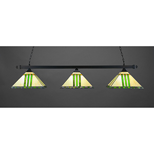 Square Matte Black 14-Inch Three-Light Island Pendant with Green and Metal Leaf Tiffany Glass