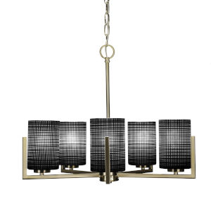 Atlas New Age Brass 20-Inch Five-Light Chandelier with Black Matrix Glass