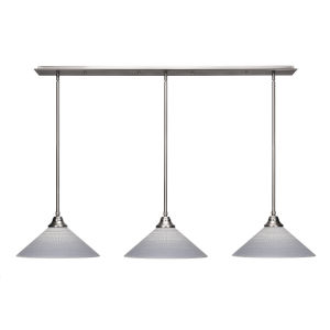 Stem Brushed Nickel Three-Light Linear Chandelier