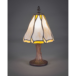 Any Dark Granite Six-Inch One-Light Table Lamp with Honey and Brown Flair Tiffany Glass