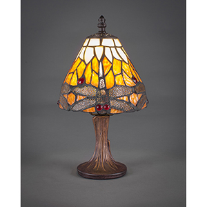 Any Dark Granite Six-Inch One-Light Table Lamp with Amber Dragonfly Tiffany Glass