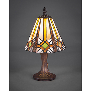 Any Dark Granite Seven-Inch One-Light Table Lamp with Hampton Tiffany Glass