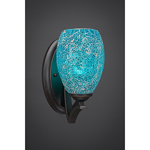 Zilo Dark Granite Five-Inch One-Light Wall Sconce with Turquoise Fusion Glass