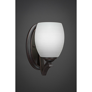 Zilo Dark Granite Five-Inch One-Light Wall Sconce with White Linen Glass