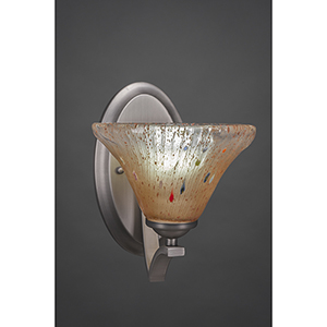 Zilo Graphite Seven-Inch One-Light Wall Sconce with Amber Crystal Glass