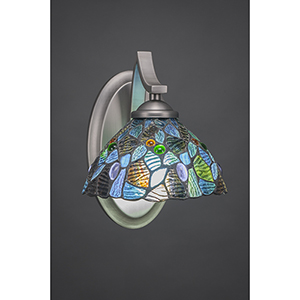 Zilo Graphite Seven-Inch One-Light Wall Sconce with Blue Mosaic Tiffany Glass