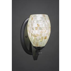 Zilo Matte Black Five-Inch One-Light Wall Sconce with Ivory Glaze Seashell Glass
