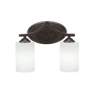 Zilo Dark Granite Two-Light Bath Vanity with White Matrix Glass