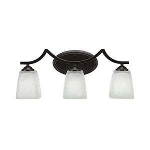 Zilo Dark Granite 21-Inch Three-Light Bath Vanity with White Bell Muslin Glass