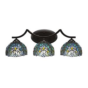 Zilo Dark Granite 23-Inch Three-Light Bath Vanity with Turquoise Cypress Tiffany Glass