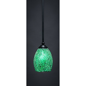 Zilo Matte Black Eight-Inch One-Light Mini Pendant with Green Fusion Glass