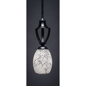 Zilo Matte Black 15-Inch One-Light Pendant with Short Black Fusion Glass