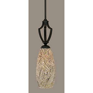Zilo Matte Black 19-Inch One-Light Pendant with Natural Fusion Glass