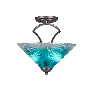Zilo Graphite 12-Inch Two-Light Semi Flush Mount with Teal Crystal Glass