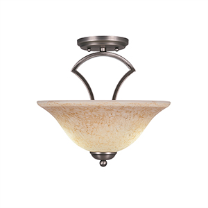 Zilo Graphite 12-Inch Two-Light Semi Flush Mount with Italian Marble Glass