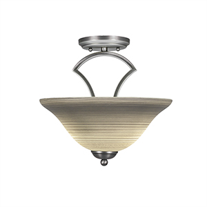 Zilo Graphite 12-Inch Two-Light Semi Flush Mount with Gray Linen Glass