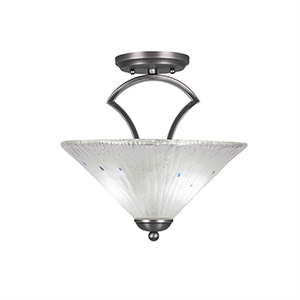 Zilo Graphite 12-Inch Two-Light Semi Flush Mount with Frosted Crystal Glass