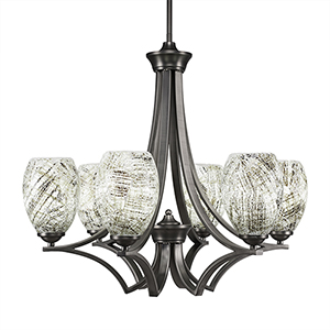 Zilo Graphite 25-Inch Six-Light Chandelier with Natural Fusion Glass