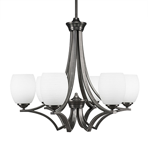 Zilo Graphite 25-Inch Six-Light Chandelier with White Linen Glass