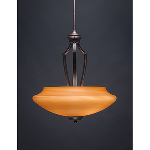 Zilo Dark Granite 18-Inch Three-Light Pendant with Zilo Cayenne Linen Glass