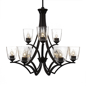 Zilo Dark Granite 25-Inch Nine-Light Chandelier with Clear Bubble Glass