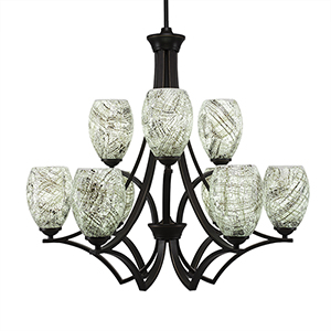 Zilo Dark Granite 29-Inch Nine-Light Chandelier with Natural Fusion
